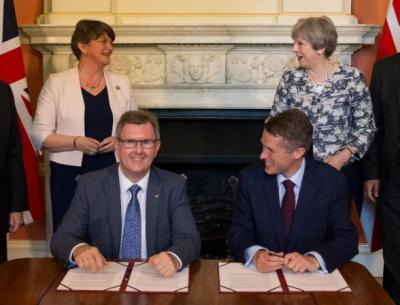"alt=""May strikes deal to get Northern Irish DUP support for minority gov't"""