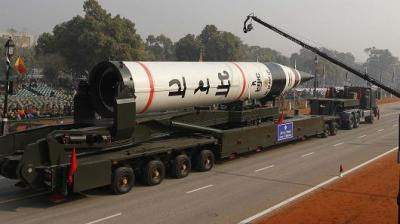 "alt=""India successfully test-fires nuclear-capable intercontinental ballistic missile"""