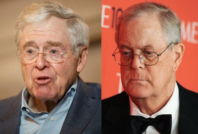 "alt=""Koch Network to Tap $400 Million Lode for Ads to Sway 2018 Vote"""