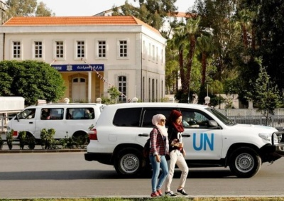 "alt=""U.N. team fired upon in Syria while visiting suspected chemical sites"""