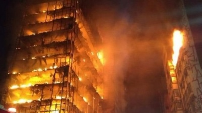 "alt=""Brazil fire: Sao Paulo tower block collapses"""