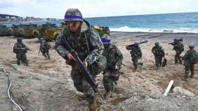 "alt=""The Pentagon has no plans to scale back military operations in South Korea"""