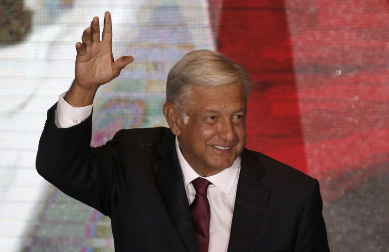 "alt=""Mexico's Lopez Obrador claims historic win, broad mandate"""
