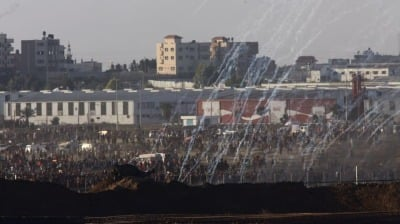 "alt=""'Two Palestinians Killed, 307 Wounded' in Border Protests After Gaza Escalation"""