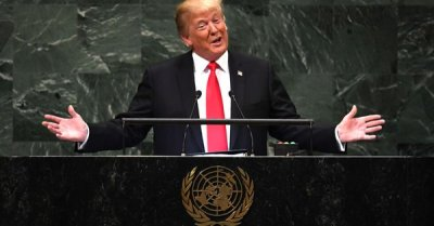 "alt=""Trump's boast draws laughter during his UN General Assembly speech"""
