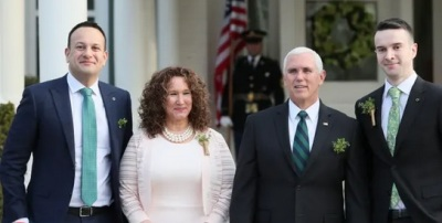 "alt=""Irish PM brings partner to meet Pence & delivers pointed remarks on sexuality"""