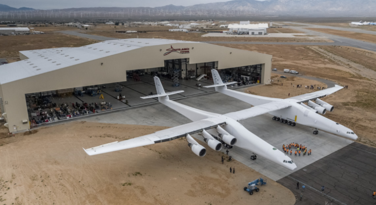 "alt=""Stratolaunch, the world's largest airplane & built to launch rockets, takes first flight"""