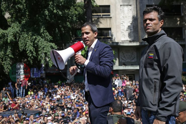 "alt=""Venezuela's Guaido calls for 'largest march in history' in uprising effort"""