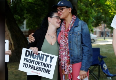 "alt=""U.S. Rep. Tlaib rejects West Bank visit, citing Israel's 'oppressive conditions'"""